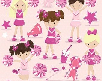 80% OFF SALE Pink Cheerleader clipart commercial use, vector graphics, digital clip art, digital images - CL652