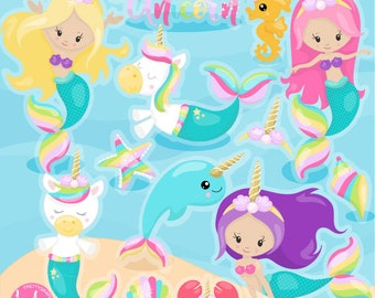 80% OFF SALE Unicorn mermaids clipart commercial use, vector graphics,  digital clip art, digital images  - CL1157