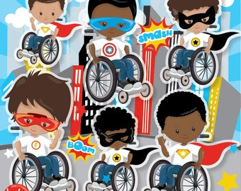 BUY 20 GET 10 OFF Superhero boys on wheelchair clipart commercial use, vector graphics, digital clip art, digital images - CL1230