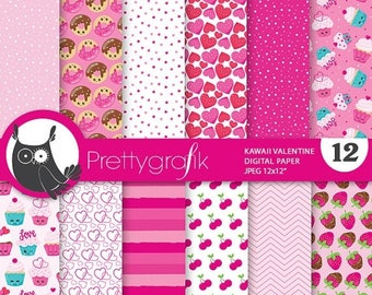 80% OFF SALE Valentine kawaii digital papers, commercial use, scrapbook papers, papers, background - PS845
