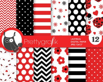 BUY 20 GET 10 OFF - Ladybug digital papers, commercial use, scrapbook papers, background - PS687