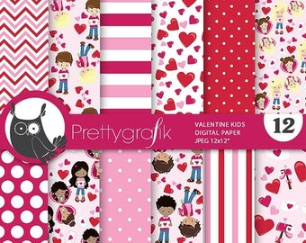 80% OFF SALE Valentine Kids digital paper, commercial use, valentine scrapbook papers, background papers, valentine papers - PS777