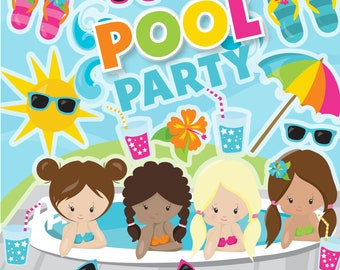 BUY 20 GET 10 OFF Girls Pool Party clipart commercial use,  vector graphics,  digital clip art,  digital images - CL1268