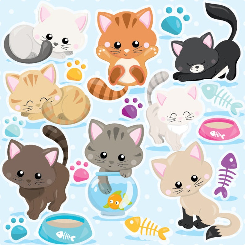 BUY20GET10  Cat clipart commercial use kitten cats clipart image 0