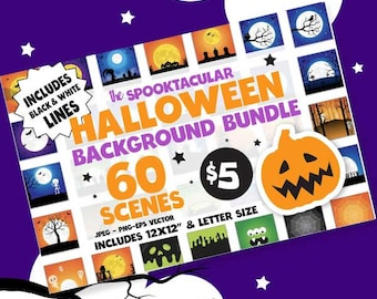 Halloween background BUNDLE graphic set,  Halloween clipart commercial use, fall clipart, vector graphics, digital images, scenes