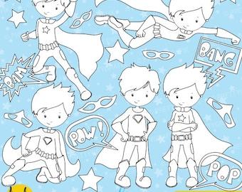 BUY 20 GET 10 OFF -Superhero Boys digital stamp commercial use, vector graphics, digital stamp, digital images - DS648