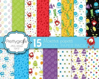 80% OFF SALE monster digital paper, commercial use, scrapbook papers, background - PS588