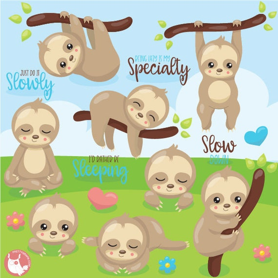 animal vector graphics digital images BUY 20 GET 10 OFF Sloth clipart commercial use easter digital clip art CL1077