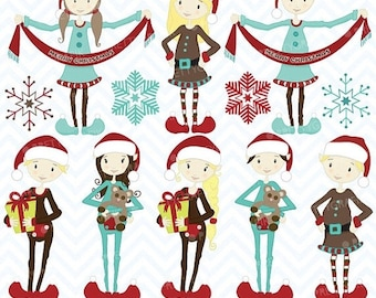 80% OFF SALE 80 Percent 0FF Sale christmas elves clipart commercial use, vector graphics, digital clip art, digital images - Cl418