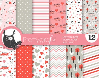 BUY 20 GET 10 OFF - Valentine deers digital paper, commercial use, valentine scrapbook papers, background papers - PS968