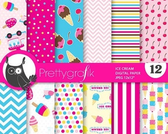 80% OFF SALE Ice cream digital papers, commercial use, scrapbook papers, background  - PS727