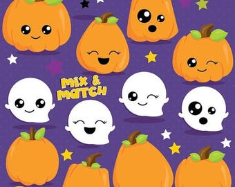 80% OFF SALE Pumpkin clipart, Jack o lantern clipart, Kawaii pumpkin commercial use, ghost vector graphics, digital clip art, - CL1006
