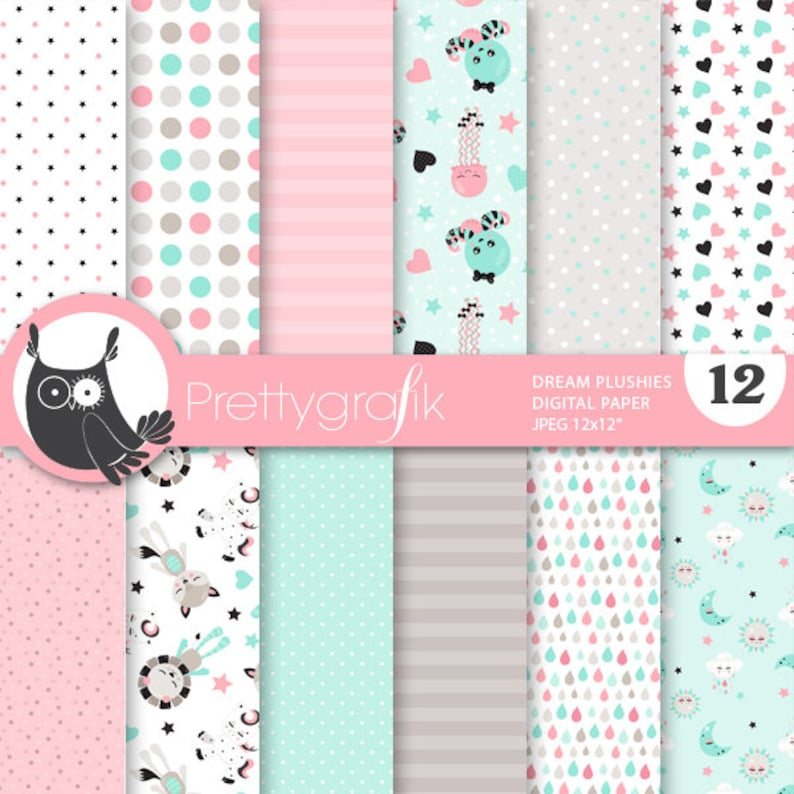 BUY 20 GET 10 OFF  Dream plushies digital papers commercial image 0