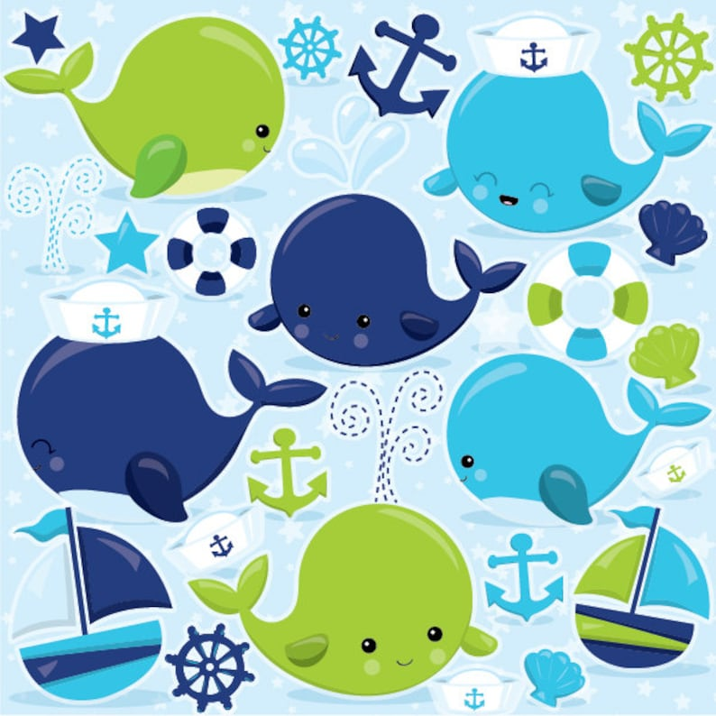 digital images CL970 BUY 20 GET 10 OFF Nautical Whales clipart commercial use blue whale vector graphics nautical digital clip art