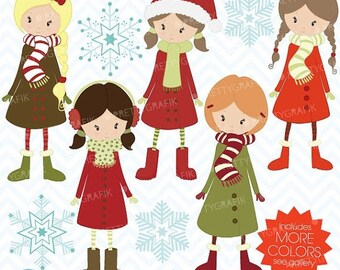 80% OFF SALE winter christmas girls clipart commercial use, vector graphics, digital clip art, digital images  - CL443