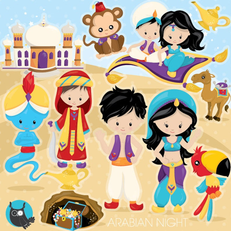 BUY 20 GET 10 OFF Aladdin clipart commercial use desert image 0