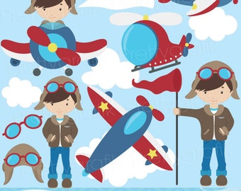 BUY 20 GET 10 OFF airplane pilot clipart commercial use, vector graphics, digital clip art, digital images  - CL526