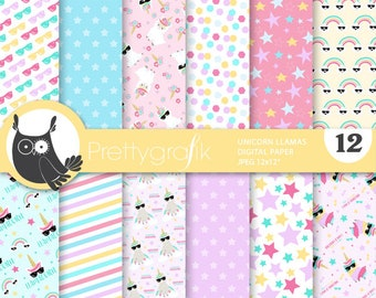 BUY 20 GET 10 OFF - Unicorn llama digital papers, Mexican fiesta commercial use, scrapbook papers, background - PS923