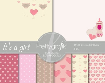 BUY 20 GET 10 OFF - baby girl digital paper, commercial use, scrapbook papers, background - PS541