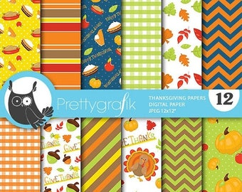 80% OFF SALE Thanksgiving digital papers, commercial use, scrapbook papers, background  - PS658
