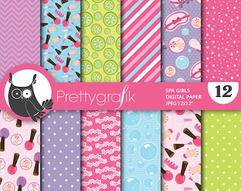 BUY 20 GET 10 OFF - Spa girls papers, commercial use, scrapbook papers, background  - PS657