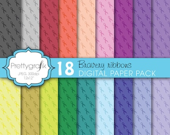 BUY 20 GET 10 OFF - cancer ribbon digital paper, commercial use, scrapbook papers, background  - PS606