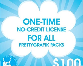 ONE TIME Prettygrafik no credit required commercial license - all packs, exclusive event, only 15 licenses available