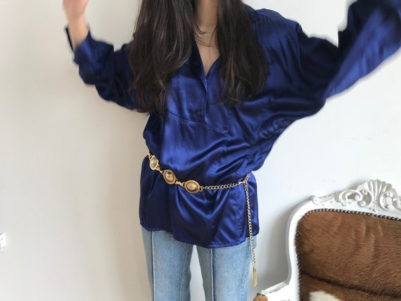 80s Vintage Satin Blouse, Navy Tunic