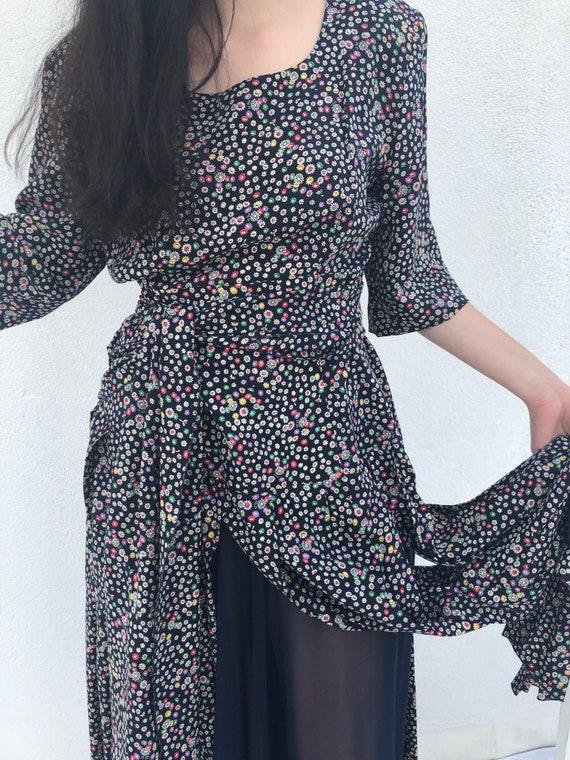 Vintage 1980s Flutter Sleeve Floral Dress, 80s Wra