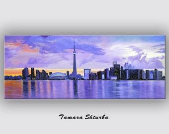 "ORIGINAL Large  Oil Painting ""Toronto""  size: 60""x24"" art gift art painting original painting"