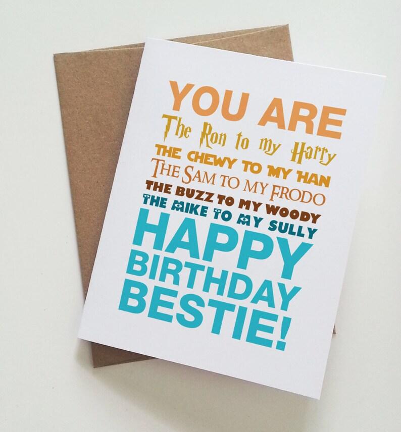 Geeky Best Friend Birthday Card Harry Potter Star Wars