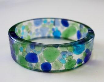 Sea glass bracelet, ocean bracelet, nautical bracelet, blue bracelet, seaglass bracelet, resin bracelet, glass bracelet