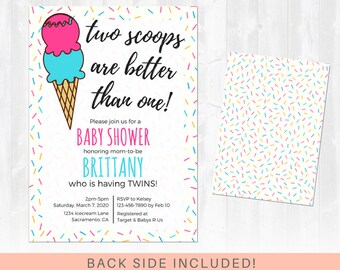 Twin baby shower invitation etsy twins baby shower invitation ice cream baby shower two is better than one all colors baby girl andor baby boy printable invitation filmwisefo