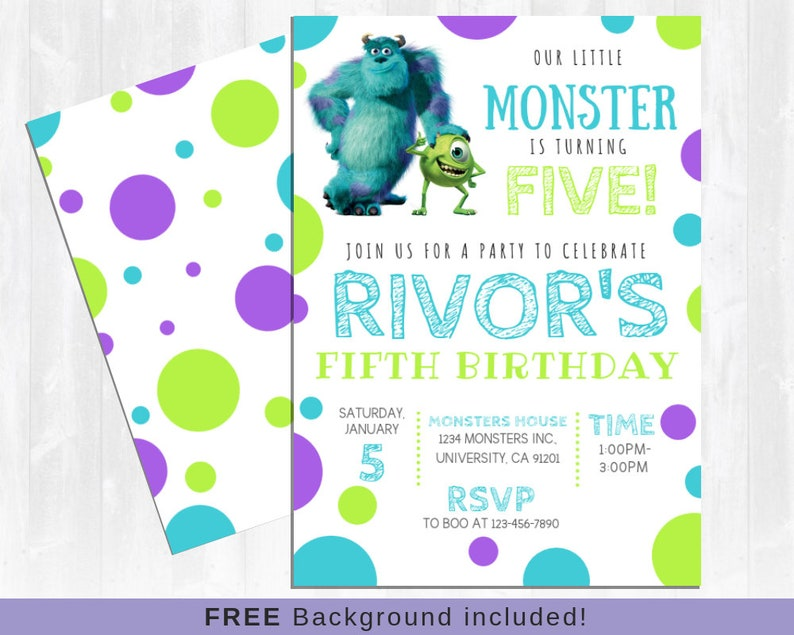 Monsters Inc Invitation Sully And Mike University Monster Birthday Little