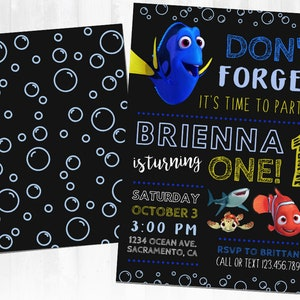 Party printables Finding Nemo DIY Printable Gift Bag Dory Birthday Party Favor Dory Finding Dory Favor Bags Party Digital Files