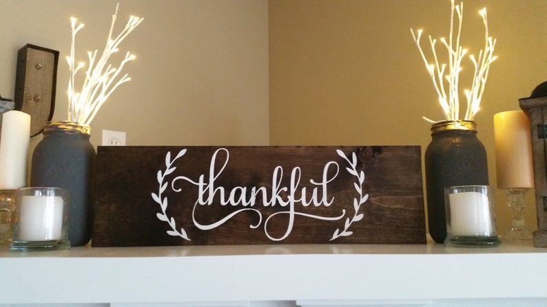Thankful Wood Sign Thanksgiving Signs Host Gifts Cute Home Decor