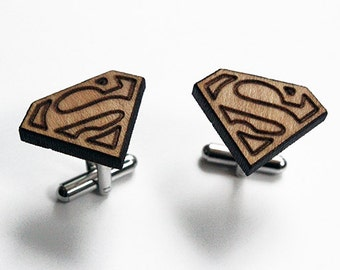 Superman cuff links, superhero cuff links, wood superman cuff links, laser cut wood cuff links, valentines gift for him, fathers day gift