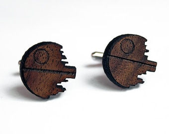 Star Wars cuff Links, Death Star cuff links, wood cuff links, nerdy cuff links, christmas gift, 5th anniversary, groomsmen gift, men's gifts