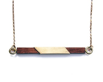 Gold wood bar necklace, brass bar necklace, wood bar necklace, minimalist bar necklace, wood necklace, bar necklace, sustainable jewelry
