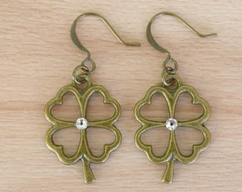 Bronze Clover Earrings - Good Luck Jewelry - Irish Earrings - Handmade Jewelry - Four Leaf Clover Dangle Earrings - Nature Jewelry