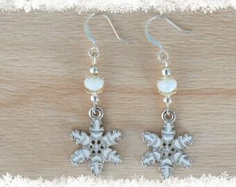 White Snowflake Earrings - Christmas Earrings - Snow Jewelry - Enamel Earrings - Xmas Jewellery - Winter Wedding - Weather Jewelry
