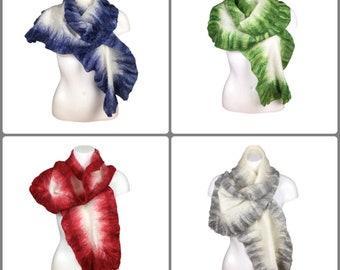 Merino wool scarf, nuno felted, white with ruffle border, fashion scarf, womens scarf, various colours, felt scarf, nuno felting