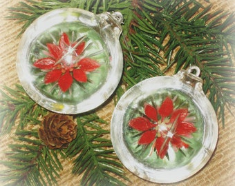 vintage diorama christmas ornaments jewelbrite clear plastic globe with poinsettia inside mid century christmas decor christmas kitsch - Poinsettia Christmas Decorations