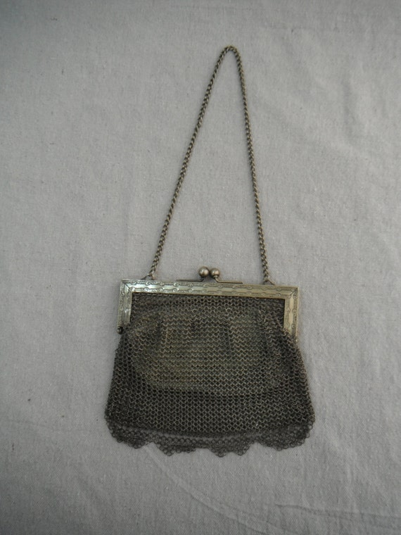 German Silver Mesh Purse with hand-stitched kid le