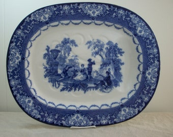 SALE Doulton Flow Blue Well and Tree Platter