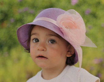 Summer Kids Straw Hats, Girls Sun Hat, Tea Party Hat, Special Occasion Hat, Baby Wedding Hat, Hat With Big Rose, Junior Bridesmaid Hat