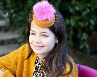 Yellow Pompom Girl Mini Hat, Pom Pom Fascinator, Tea Party Hat, Birthday Fascinator, Flower Girl Hat, Mini Veil Hat, Wedding Fascinator