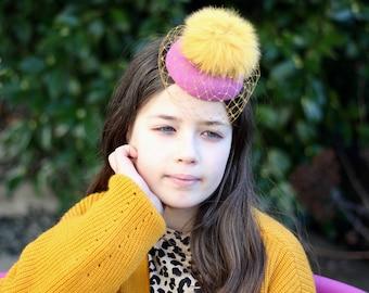 Yellow Pink Girls Mini Hat, Pom Pom Fascinator, Tea Party Hat, Birthday Fascinator, Mini Veil Hat, Pillbox Hat, Wedding Fascinator