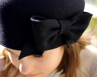 Classic Navy Blue Girl s Cloche Hat Toddler Winter Hat  f1f1845f50d1
