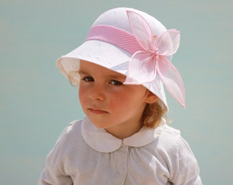 Toddler Tea Party Hat, Girl Sun Hat, Baby Hat With Butterfly, Baby Girl Fancy Hat, Little Girls Hat, Special Occasion Hat, Wedding Hat